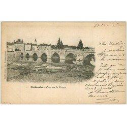 carte postale ancienne 16 CHABANAIS. Pont sur la Vienne 1902