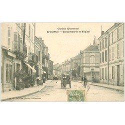 carte postale ancienne 16 CHALAIS. Gendarmerie et Hôpital sur Grand'Rue vers 1905