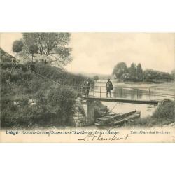 LIEGE Luik. Pont du Confluent de l'Ourthe et de la Meuse près du Café de Fetinne 1902