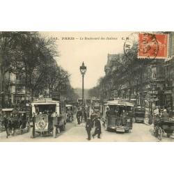 PARIS 09 . Le Boulevard des Italiens bus, fiacres et Agent de police 1919