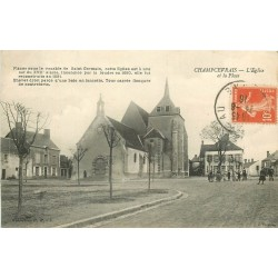 89 CHAMPCEVRAIS. Eglise et Place 1916 animation avec Facteur