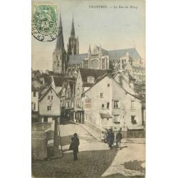 28 CHARTRES. Le Pont rue du Bourg 1907 carte colorisée