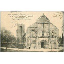 carte postale ancienne 16 CHATEAUNEUF sur CHARENTE. L'Eglise 1915 animation