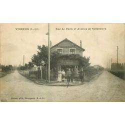 """91 VIGNEUX. Restaurant Martin """" Au Point du jour """" rue de Paris et Avenue de Villeneuve"""