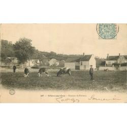 77 VILLIERS-SOUS-GREZ. Hameau de Busseau 1905 Paysan et ses vaches