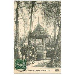 carte postale ancienne 16 COGNAC. Fontaine Jardin Hôtel de Ville 1908
