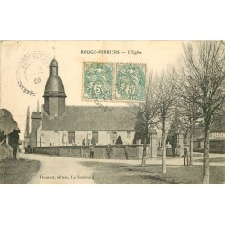 27 ROUGE-PERRIERS. L'Eglise 1906 avec cyclistes devant le Cimetière