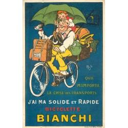 Illustrateur MICH. Publicité sur la bicyclette Bianchi. Tampon Motocyclettes à Paris