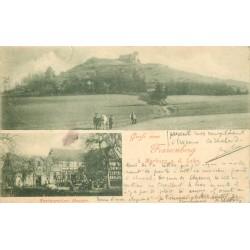 57 FRAUENBERG. Restauration Heuser et Paysans avec attelage. Tampon Heusser 1900