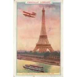 AVIATEUR. Le Comte de Lambert doublant la tour Eiffel en 1909 Publicité chocolat Lombart