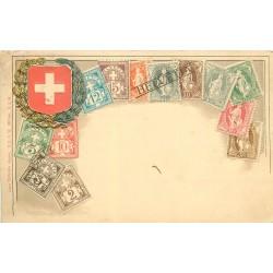 SUISSE Helvetia. Carte représentation de timbres vers 1900
