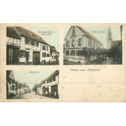 67 ZELLWEILER. Commerce Fuchs, Eglise et Haupistrasse 1906