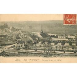 77 VIEUX CHAMPAGNE. L'Eglise et la Ville vers 1910