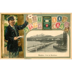 SUISSE. Pont du Montblanc à Genève. Carte gaufrée avec Facteur timbres 1909