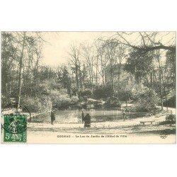 carte postale ancienne 16 COGNAC. Lac du Jardin Hôtel de Ville 1908