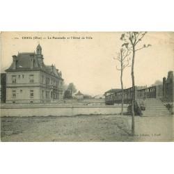 60 CREIL. Passerelle et Hôtel de Ville 1919