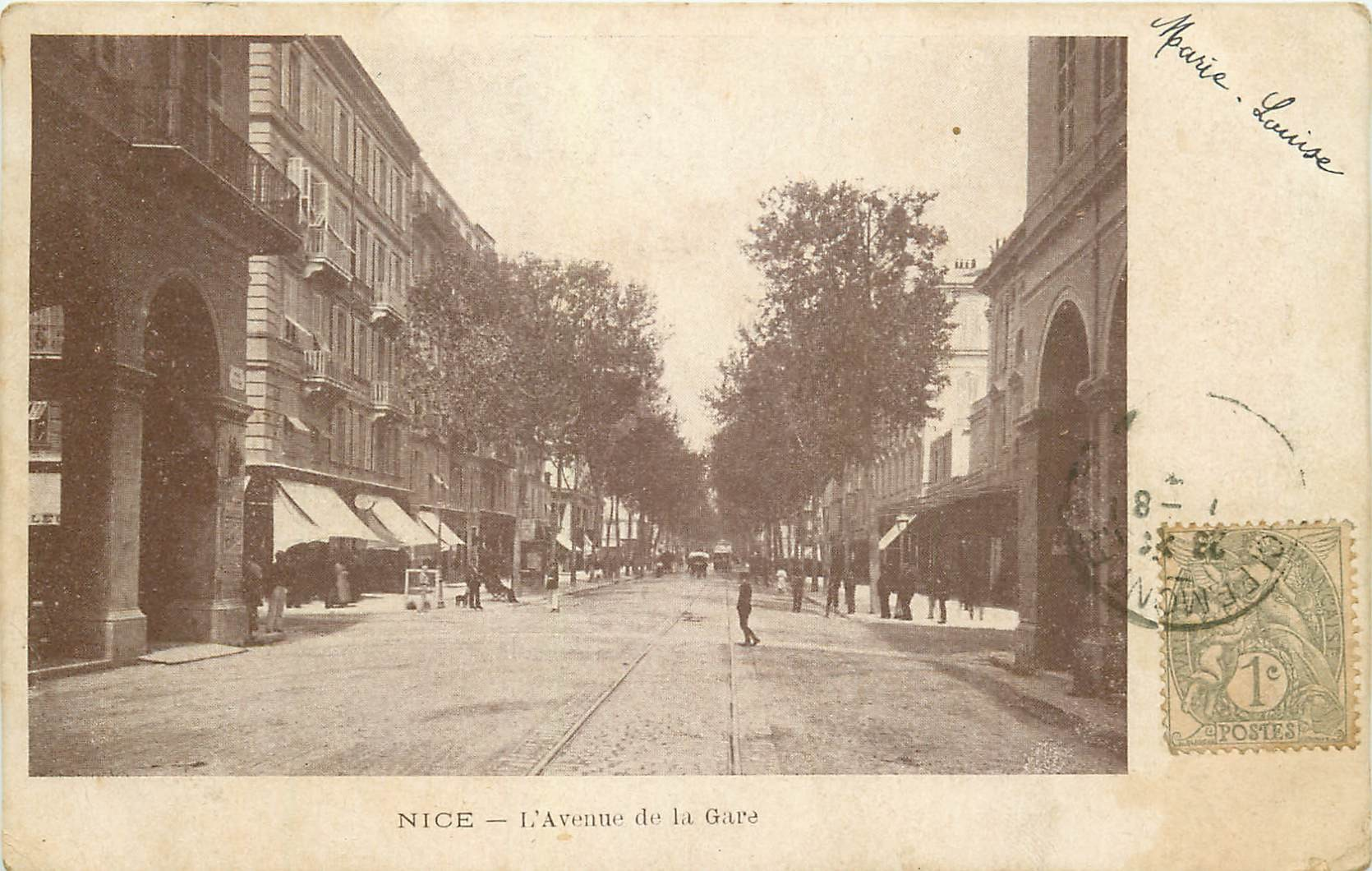 06 NICE. Avenue de la Gare timbre 1 centime vers 1900...