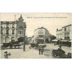 carte postale ancienne 16 COGNAC. Nouvelles Galeries Place François Ier et rue du XIV Juillet. Restaurant du Coq d'Or