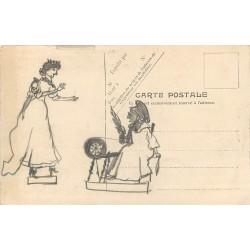 illustrateur inconnu. Rare et beau dessin au crayon sur le verso d'une carte représantant une Plage