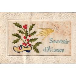 """SOUVENIR D'ALSACE. Carte brodée sur tissu voile """" étoile filante et sabot de Noël """" 1916"""