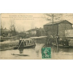 85 FONTENAY-LE-COMTE éditions. Les Huttes du Marais Vendéen inondées vers 1911