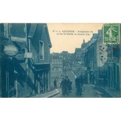 53 MAYENNE. Rue Saint-Martin et Grande rue avec Messagerie Hachette, le Petit Journal et le Matin 1923