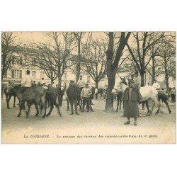carte postale ancienne 16 LA COURONNE. Pansage des Chevaux des Sapeurs-Conducteurs du 8° Génie
