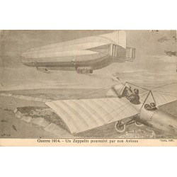 AVIATION. Un Zeppelin poursuivi par nos Avions Guerre 1914