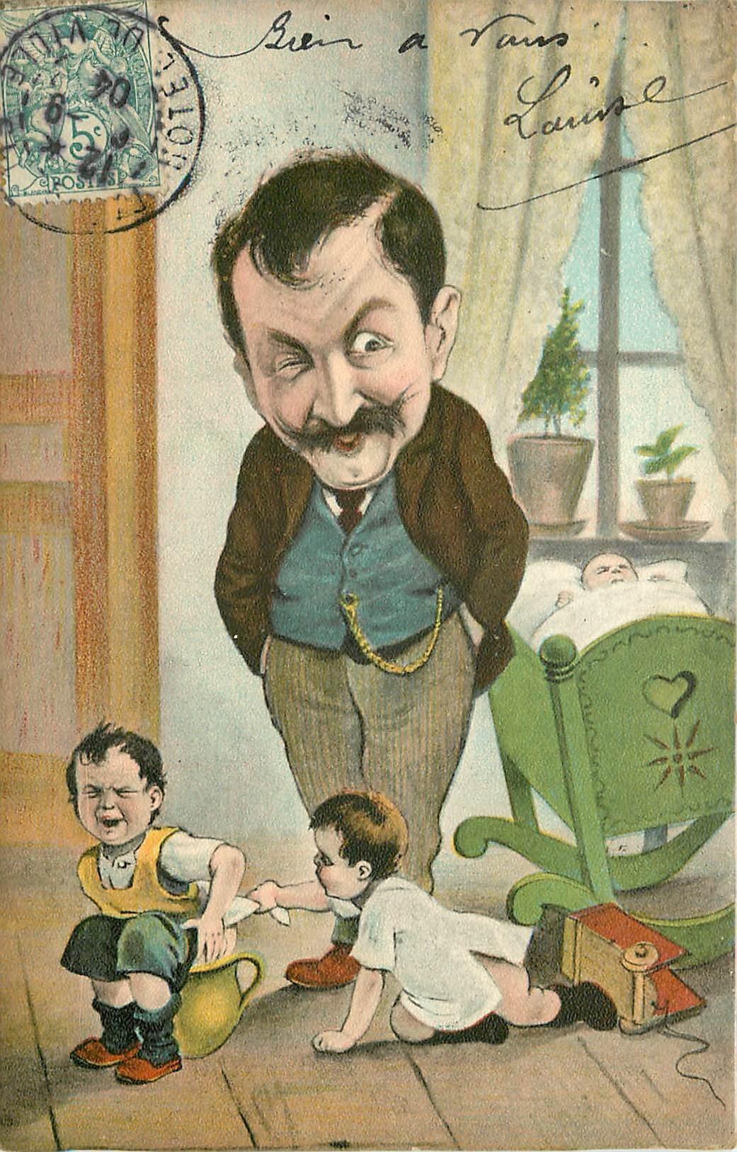 HUMOUR. Enfants se disputant le bourdalou ou pot de chambre 1914