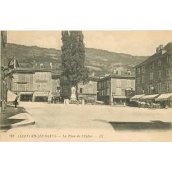 38 ALLEVARD. Pharmacie et Tabac Place de l'Eglise et attelage devant Café des Beaux-Arts 1920