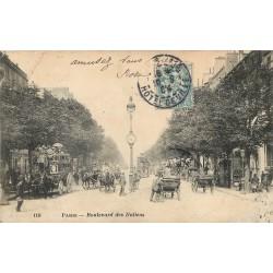 75009 PARIS. Hippomobiles à Impérial sur le Boulevard des Italiens 1904