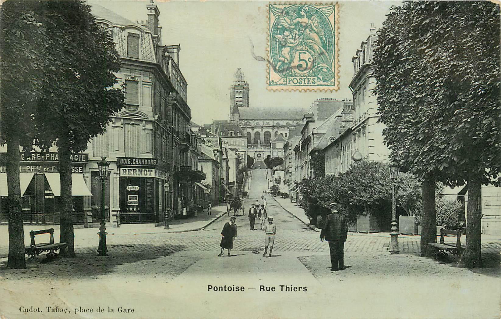 95 PONTOISE. Rue Thiers Pharmacie et bois et charbons Bernot 1906