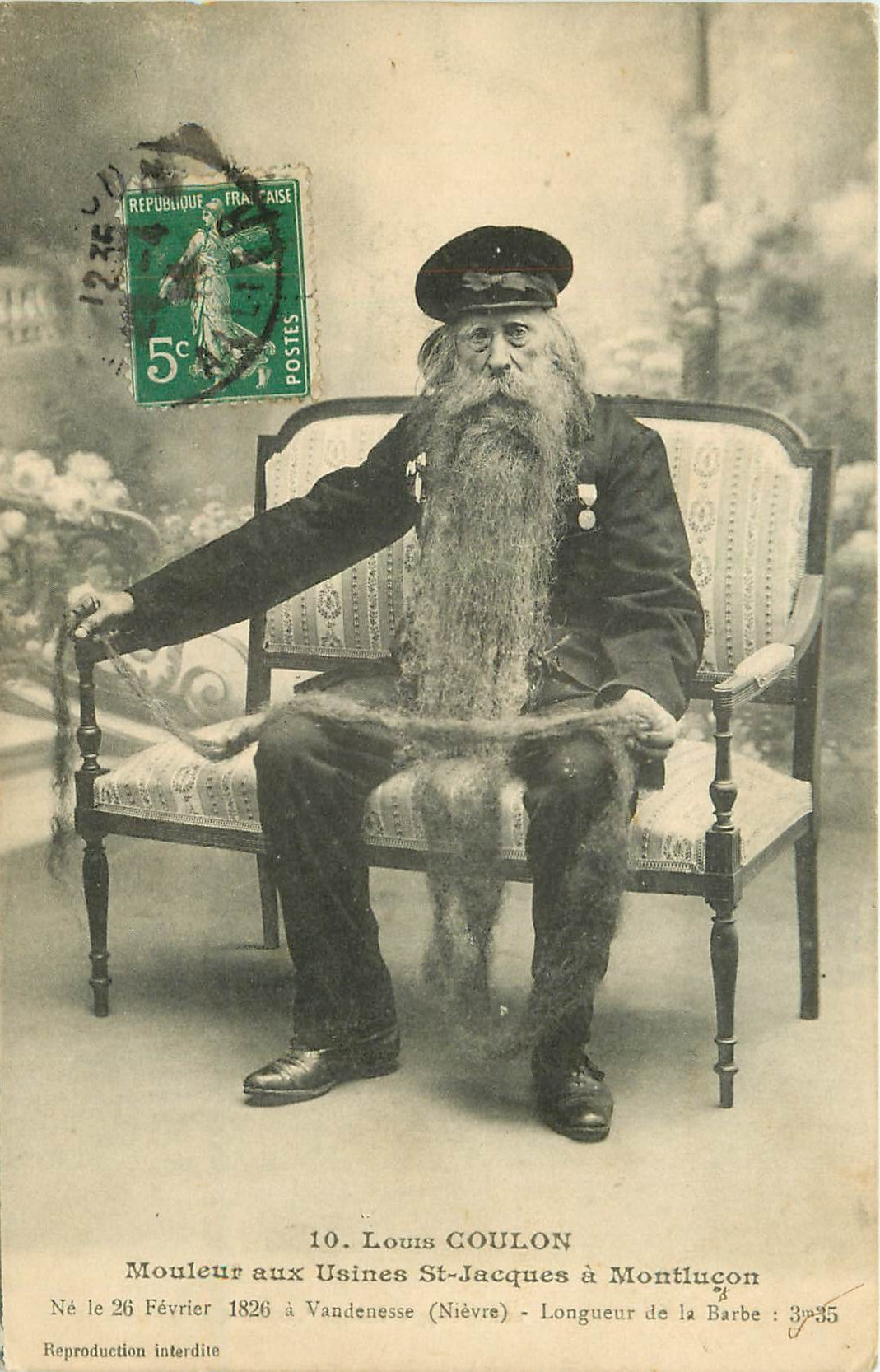 03 MONTLUCON. La Barbe de Louis Coulon mouleur aux Usines Saint-Jacques 1914