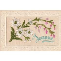 Prénoms JEANNE carte lettres en soie sur voile