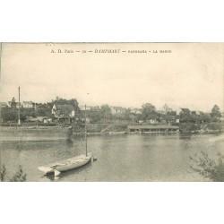 77 DAMPMART. La Marne avec péniche et lavoir