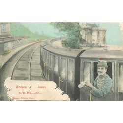 94 VINCENNES. Château et train en Gare avec Militaire