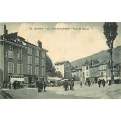 38 ALLEVARD. Place de l'Eglise 1923 Pharmacie Grasset, Cafés et Marché