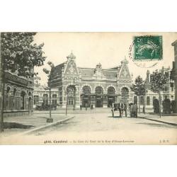 59 CAMBRAI. Gare du Nord et rue Alsace-Lorraine 1909 magasin de cycles et machines à coudre