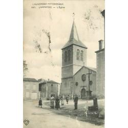 63 LAMONTGIE. L'Eglise avec animation 1910
