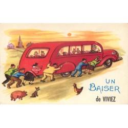12 Un Baiser de VIVIEZ. Passagers poussant un car en panne