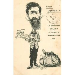 """GREVE DES P.T.T. Carte Satyrique politique par Morer 1909. Le Camarade Vallet présente son Jouet """" machine à révoquer """""""