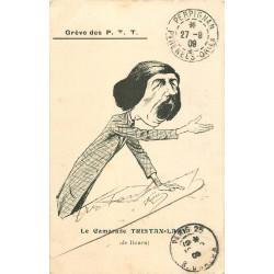 GREVE DES P.T.T. Carte Satyrique politique par Morer 1909