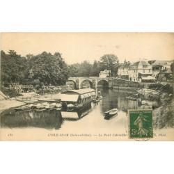 95 L'ISLE ADAM. Le Pont Cabouillet 1917 avec Péniche Lavoir