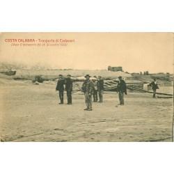 COSTA CALABRA. Trasporto di Cadaveri dopo terremoto 1908 transport des cadavres...