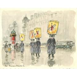 Format Cpsm Illustratrice La Brigte. LES HOMMES SANDWICHS pour le Cirque Medrano