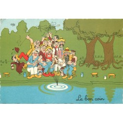 Cpsm Illustrateur DUBOUT. Le bon coin des Pêcheurs 1961