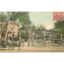 75019 PARIS Fiacre à l'Entrée principale des Buttes Chaumont 1905
