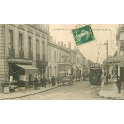 """33 BORDEAUX-PESSAC. Barrière et Chemin de Pessac Tramway """" Chocolat Louit """" 1913"""