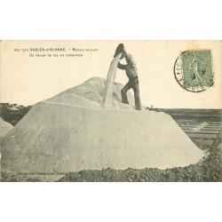 85 LES SABLES D'OLONNE. Un Mulon de sel en formation dans les Marais salants 1919