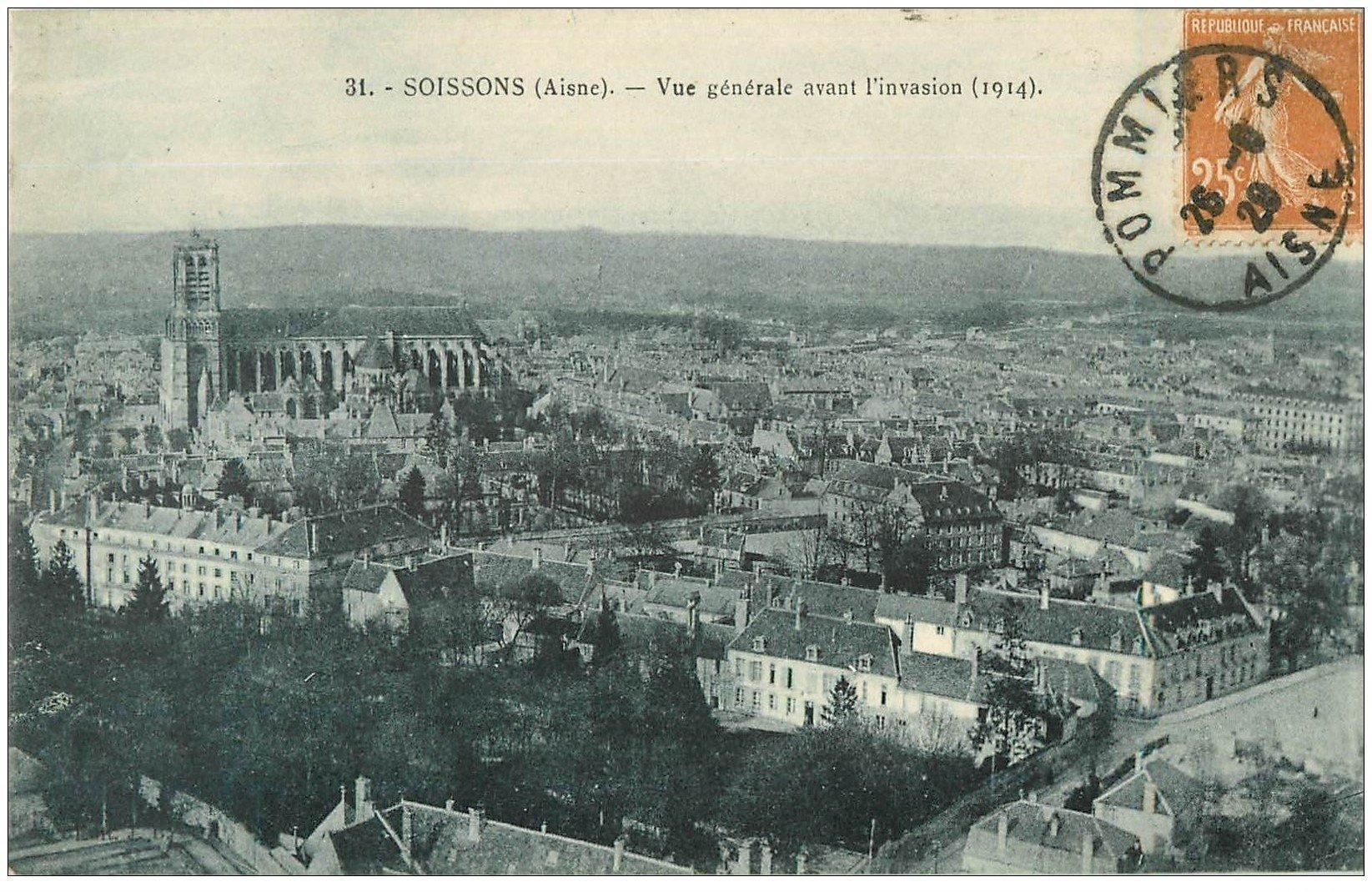 carte postale ancienne 02 SOISSONS. Vue avant l'invasion 1928